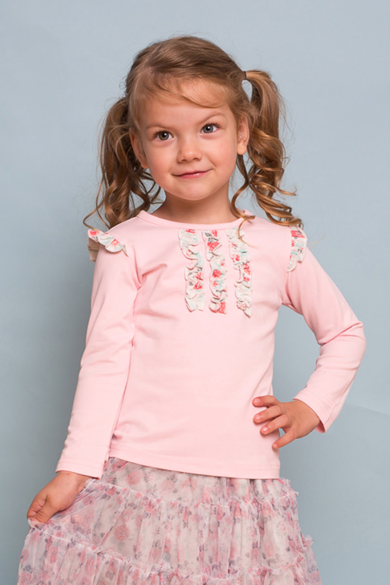 Футболка с длинным рукавом для девочки Sweet Berry Baby, цвет: розовый. 732096. Размер 92732096Трикотажная футболка Sweet Berry Baby с длинным рукавом выполнена из мягкого хлопкового полотна. Изделие декорировано оборками.