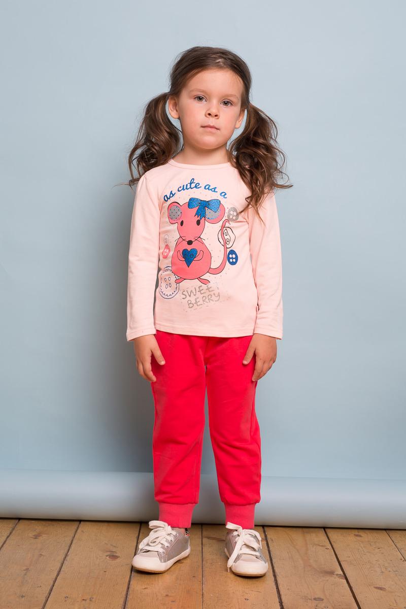Футболка с длинным рукавом для девочки Sweet Berry Baby, цвет: розовый. 732120. Размер 80732120Трикотажная футболка с длинным рукавом из мягкого хлопкового полотна декорированная милым принтом. Округлый вырез горловины.