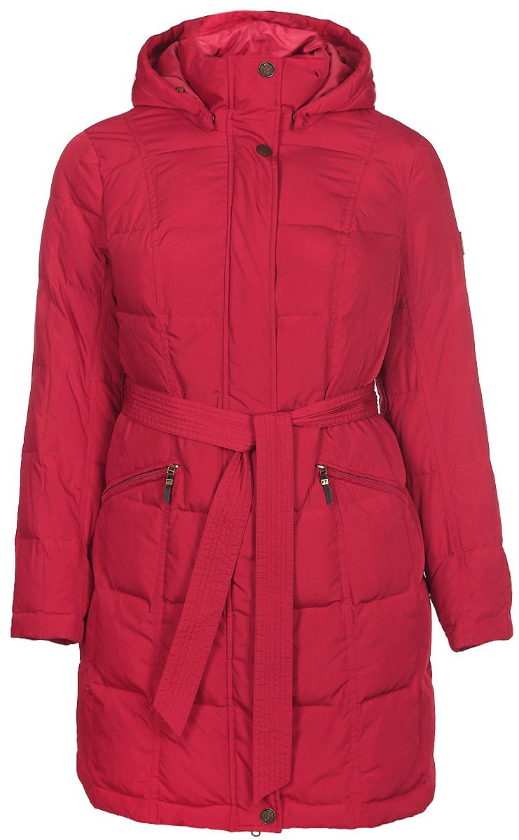 Пуховик женский Finn Flare, цвет: красный. W14-12023. Размер XXL 176-104-112W14-12023