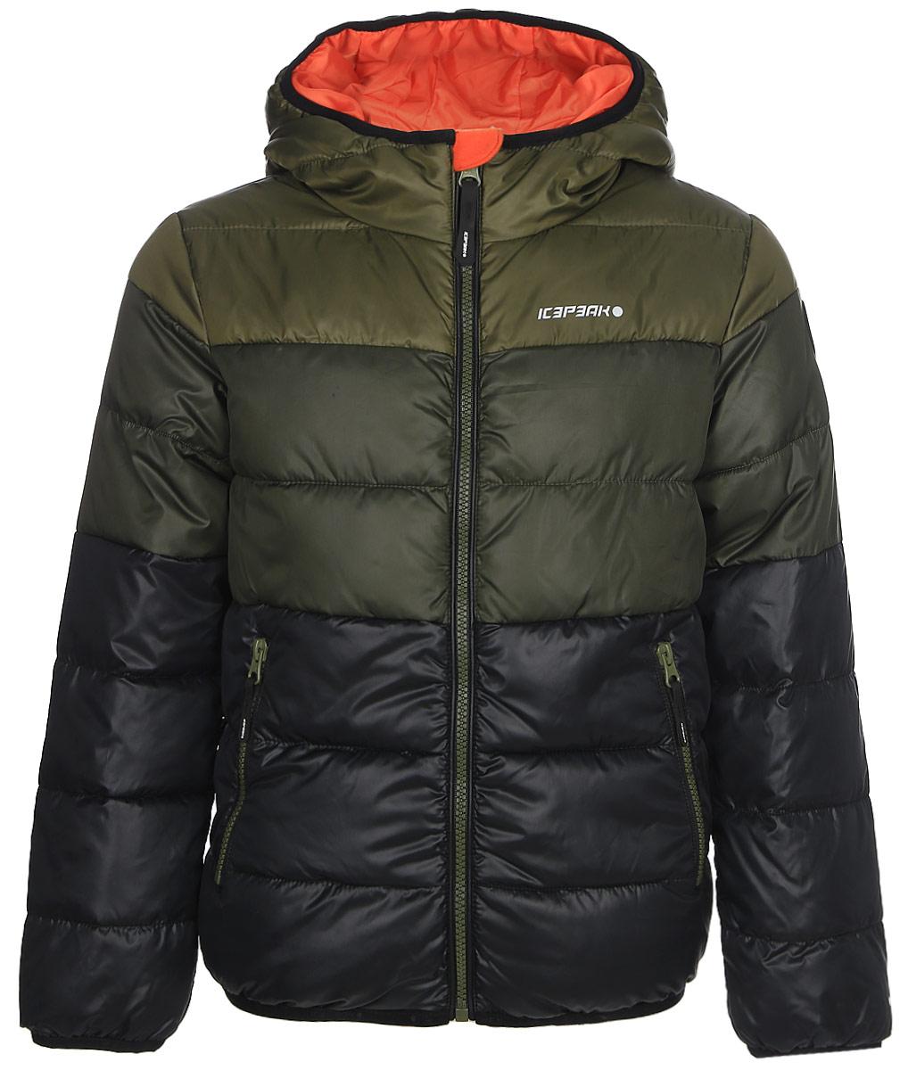 Куртка для мальчика Icepeak, цвет: оливковый. 850011507IV_572. Размер 164850011507IV_572Куртка для мальчика Icepeak выполнена из полиэстера. Модель с капюшоном застегивается на молнию.