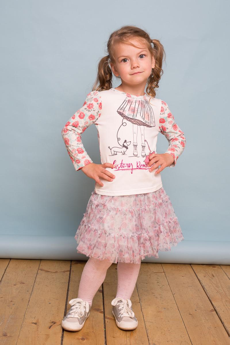 Футболка с длинным рукавом для девочки Sweet Berry Baby, цвет: белый, серый. 732105. Размер 98732105Трикотажная футболка Sweet Berry Baby выполнена из мягкого хлопкового полотна. Изделие декорировано оригинальным принтом спереди и цветочным узором по рукавам.