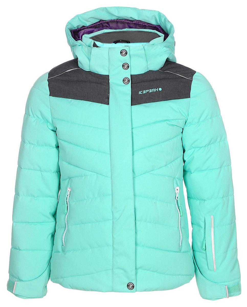 Куртка для девочки Icepeak, цвет: бирюзовый. 850026553IV_522. Размер 128850026553IV_522Куртка для девочки Icepeak выполнена из полиэстера. Модель с капюшоном застегивается на молнию и кнопки.