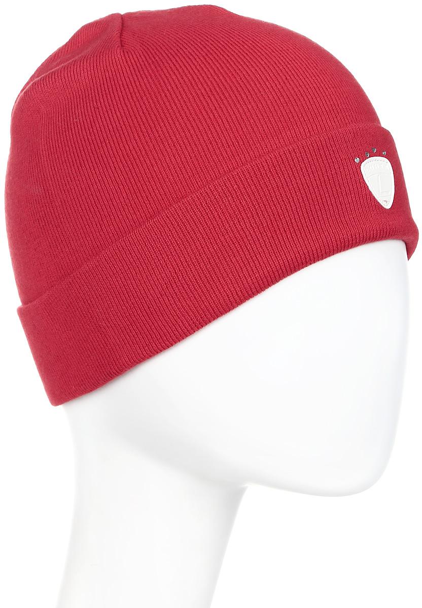 Шапка женская Luhta, цвет: красный. 838604830LV-655. Размер универсальный838604830LV-655Женская шапка Luhta с отворотом изготовлена из натурального хлопка. Модель выполнена в лаконичной однотонной расцветке. Дополнена шапка нашивкой из кожи.