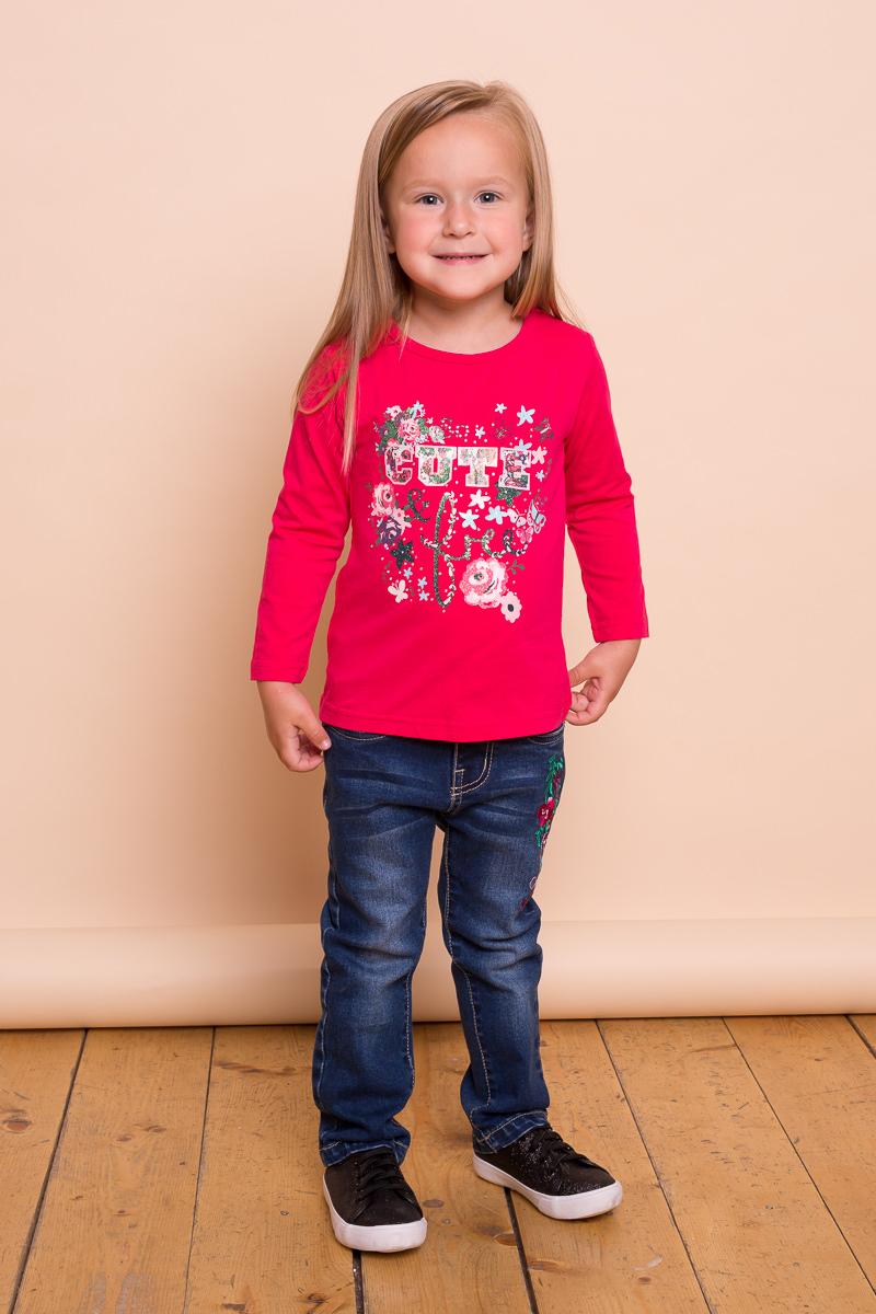 Футболка с длинным рукавом для девочки Sweet Berry Baby, цвет: фуксия. 732013. Размер 80732013Яркая трикотажная футболка с длинным рукавом малинового цвета для девочки, декорированное ярким принтом. Округлый вырез горловины.