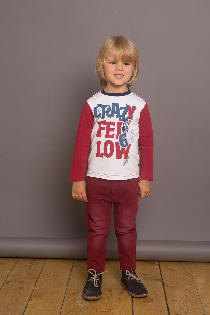 Футболка с длинным рукавом для мальчика Sweet Berry Baby, цвет: белый, бордовый. 731062. Размер 80 lovely striped rompers для baby cotton baby girl одежда мальчик костюм для пижамы 1 3 6 9 месяцев с длинным рукавом весна осень