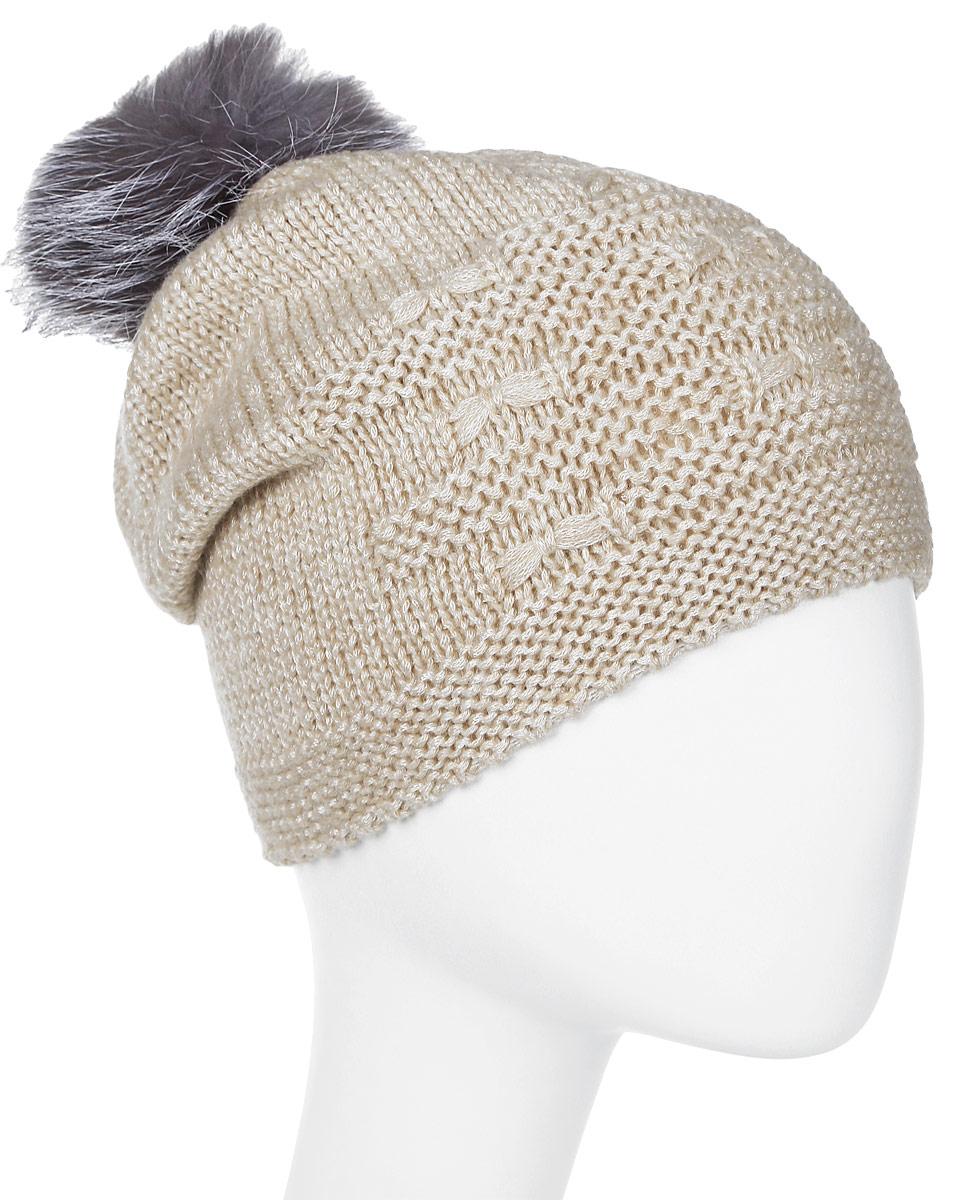 Шапка женская Marhatter, цвет: светло-бежевый. Размер 56/58. MWH7075/2MWH7075/2Стильная шапка с помпоном добавит уникальность Вашему образу. Данная модель мягкая и комфортная на ощупь. Модель на полном флисе.