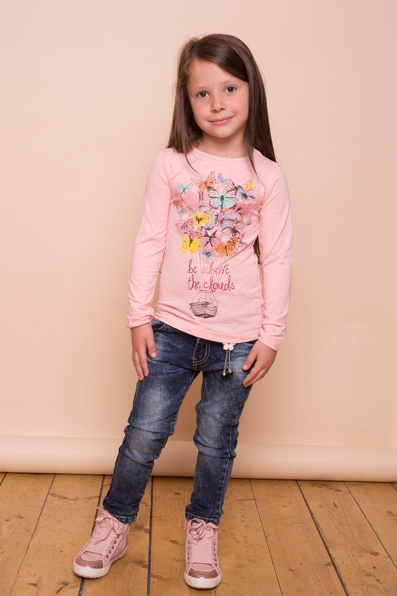 Футболка с длинным рукавом для девочки Sweet Berry, цвет: светло-розовый. 734099. Размер 122734099Трикотажная футболка для девочки из мягкого хлопкового полотна с длинным рукавом, округлым вырезом горловины, декорированная стильным принтом.