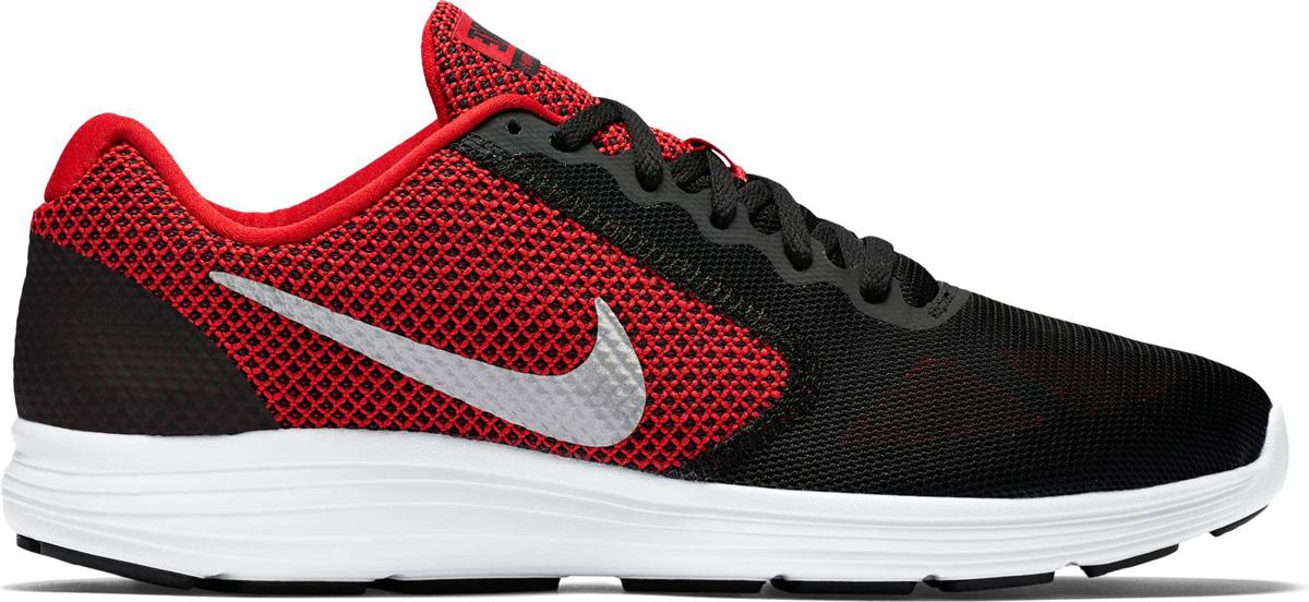 Кроссовки мужские Nike Revolution 3, цвет: черный, красный. 819300-600. Размер 11 (45)819300-600Мужские беговые кроссовки Nike, выполненные из высококачественных материалов, дополнены тиснением и фирменной нашивкой на язычке. Классическая шнуровка надежно зафиксирует изделие на ноге. Стелька и подкладка из текстиля обеспечивают комфорт. Верх из сетки для оптимальной воздухопроницаемости. Резиновая подошва для надежного сцепления с поверхностью. В таких кроссовках вашим ногам будет уютно и комфортно.