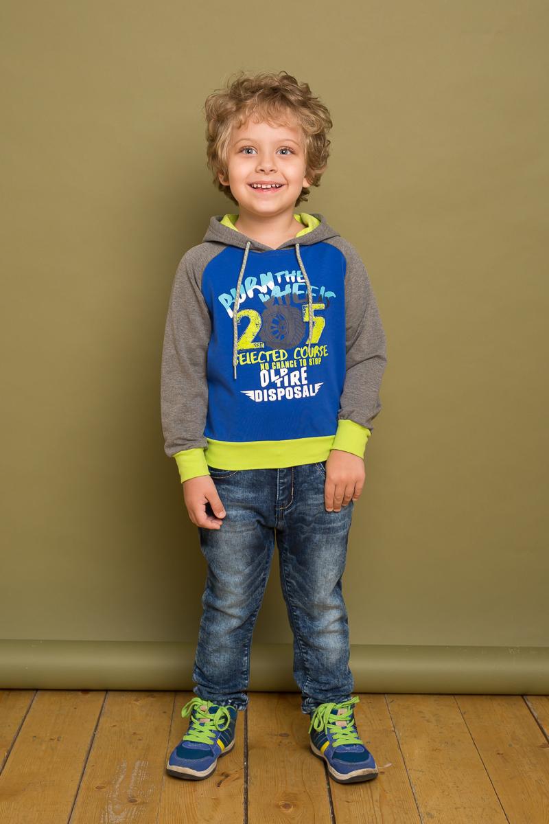 Толстовка для мальчика Sweet Berry, цвет: синий. 733095. Размер 98733095Трикотажная толстовка для мальчика от Sweet Berry выполнена из мягкой хлопковой ткани контрастных цветов. Модель с капюшоном и длинными рукавами декорирована ярким принтом.