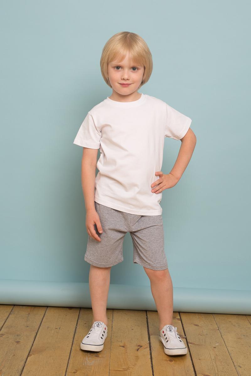 Футболка для мальчика Sweet Berry, цвет: белый. 733117. Размер 116733117Трикотажная футболка белого цвета из мягкого хлопкового полотна. Прямой крой, округлый вырез горловины, короткий рукав.