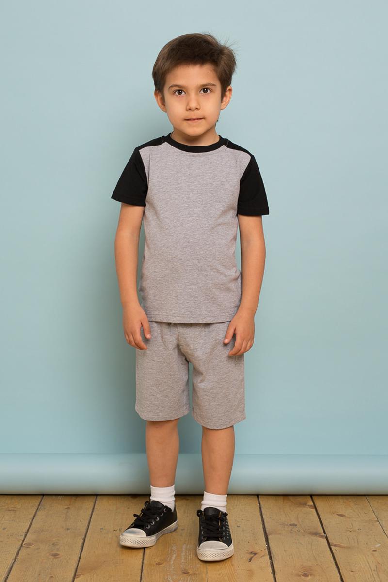 Футболка для мальчика Sweet Berry, цвет: светло-серый. 733115. Размер 122733115Трикотажная футболка от Sweet Berry выполнена цвета из мягкого хлопкового полотна и декорирована контрастной отделкой рукавов. Прямой крой, округлый вырез горловины.