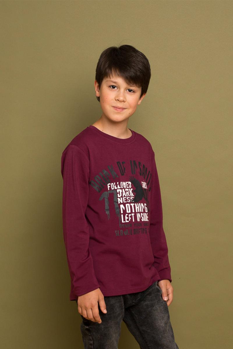 Футболка с длинным рукавом для мальчика Luminoso, цвет: бордовый. 737010. Размер 134737010Яркая, трикотажная футболка с длинным рукавом из мягкой хлопковой ткани, декорированная оригинальным принтом. Округлый вырез горловины.