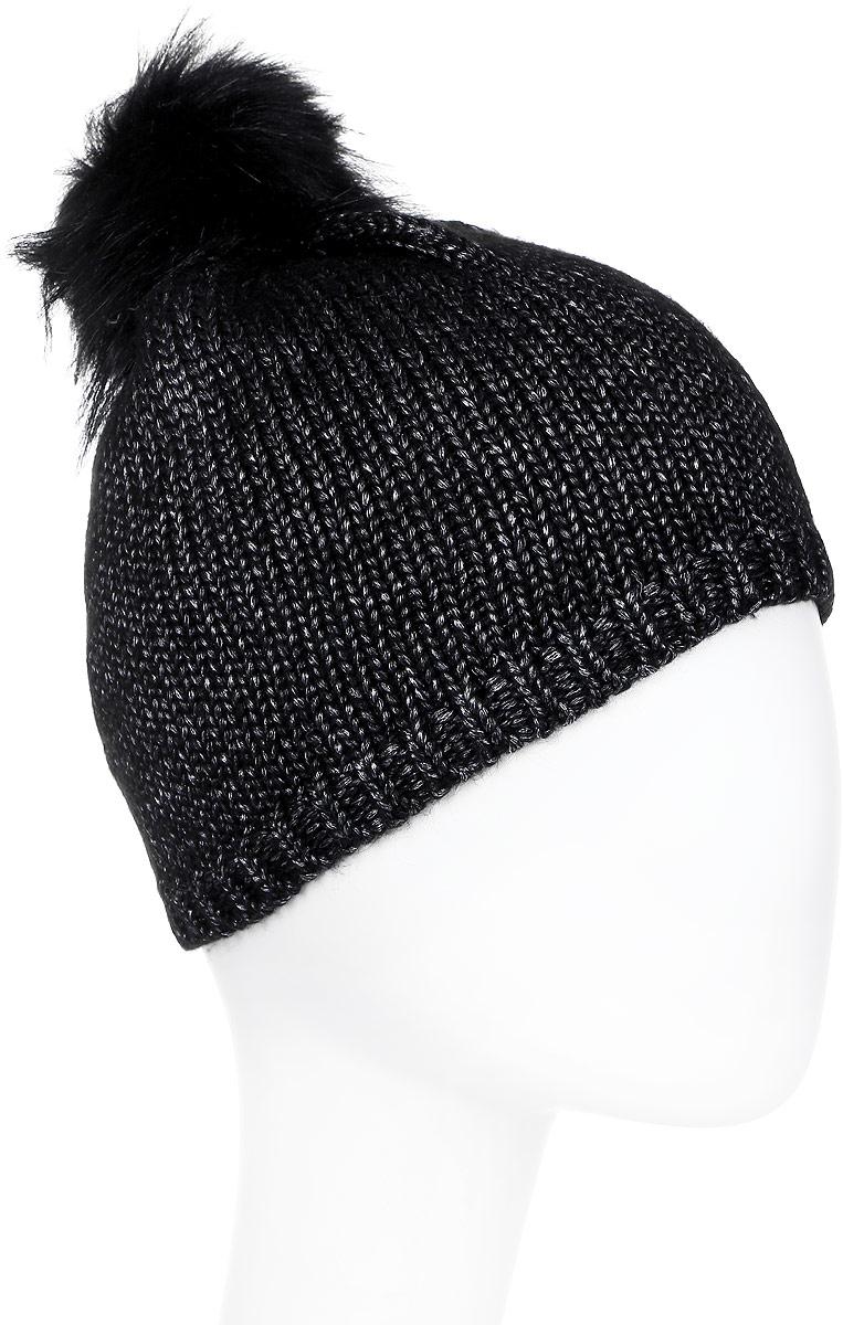 Шапка женская Luhta, цвет: черный. 838617616L7V-990. Размер универсальный