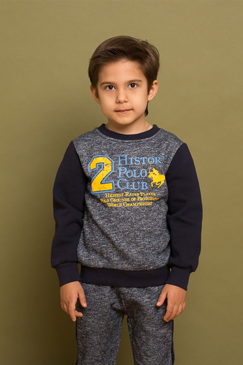 Толстовка для мальчика Sweet Berry, цвет: темно-синий. 733052. Размер 110733052Утепленная трикотажная толстовка из хлопкового полотна с начесом. Декорированная ярким принтом и контрастной отделкой горловины, рукавов и низа изделия.