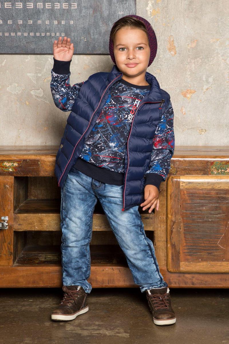 Свитшот для мальчика Sweet Berry, цвет: темно-синий. 733009. Размер 110733009Стильный трикотажный свитшот для мальчика от Sweet Berry выполнен из мягкого хлопкового полотна с оригинальным принтом. Округлый вырез горловины, длинный рукав.