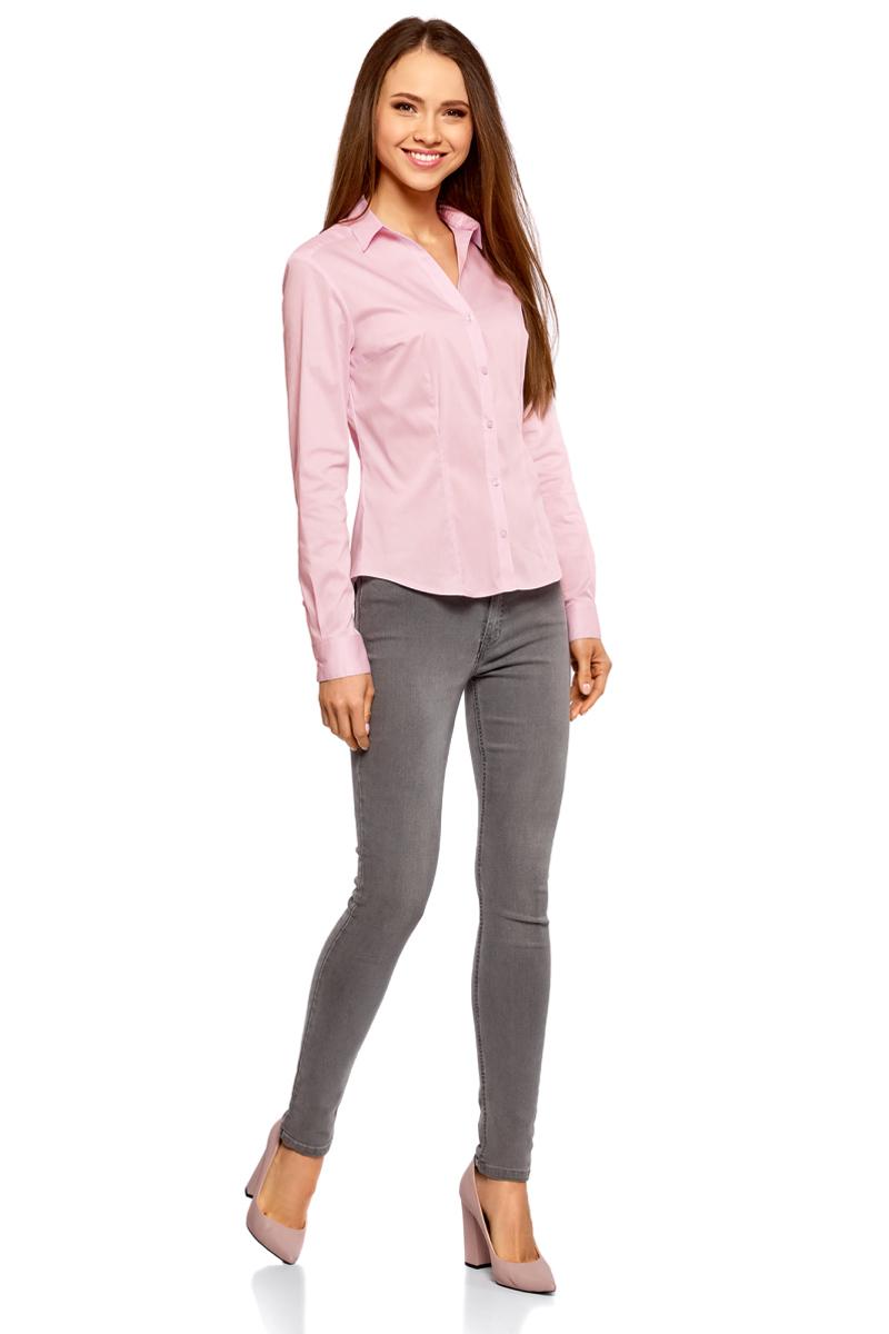 Рубашка женская oodji Ultra, цвет: светло-розовый. 11402092B/42083/4000N. Размер 40 (46-170) блузка женская oodji collection цвет бледно розовый 21406034 1 42083 4000n размер 42 48 170