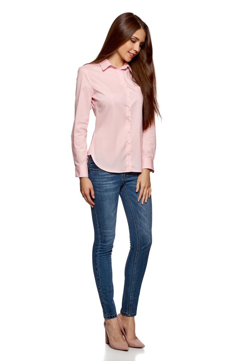 Рубашка женская oodji Ultra, цвет: светло-розовый, белый. 11403205-9/26357/4010B. Размер 44 (50-170)11403205-9/26357/4010BЖенская рубашка oodji Ultra выполнена из хлопка с добавлением полиуретана. Модель с отложным воротником и длинными рукавами застегивается по всей длине с помощью пуговиц. На лицевой стороне расположен накладной карман. Рукава, дополненные манжетами с пуговицами, подворачиваются и фиксируются с помощью пуговицы.