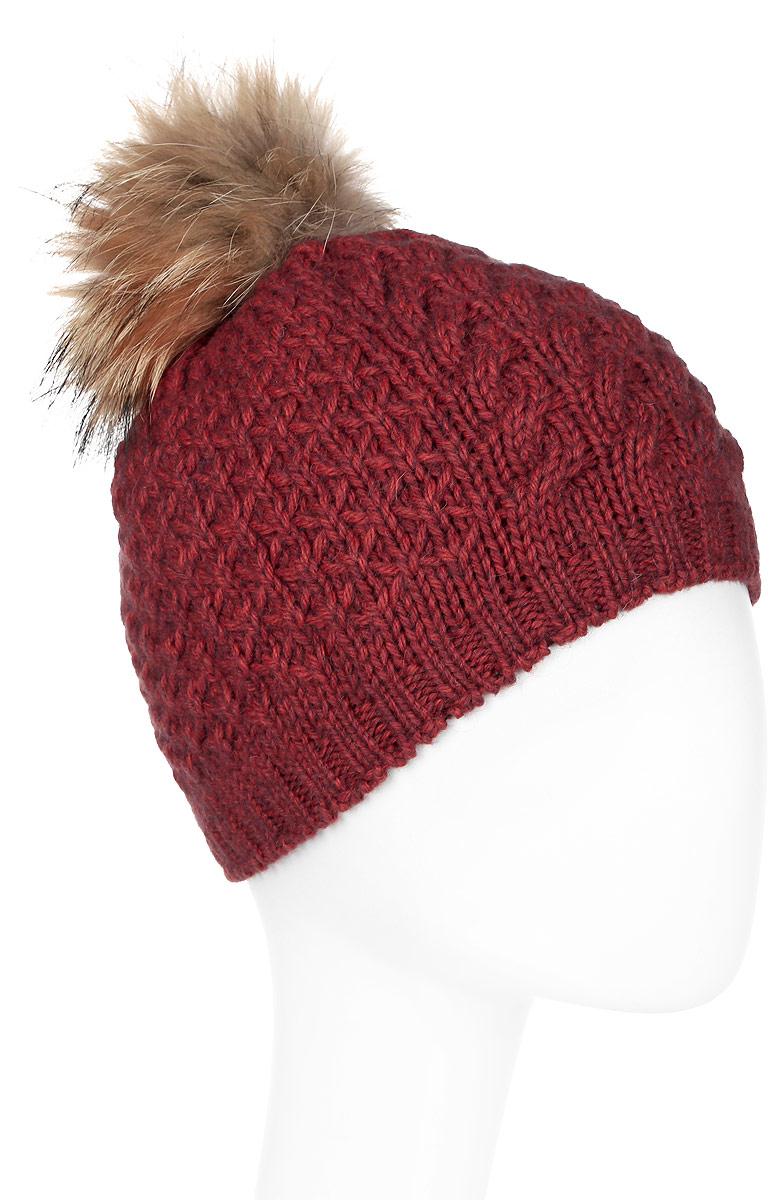 Шапка женская Marhatter, цвет: коричнево-красный. Размер 56/58. MWH6754/2MWH6754/2Стильная шапка с помпоном из натурального меха, выполнена из ангоровой пряжи. Модель очень актуальна для тех, кто ценит комфорт, стиль и красоту.