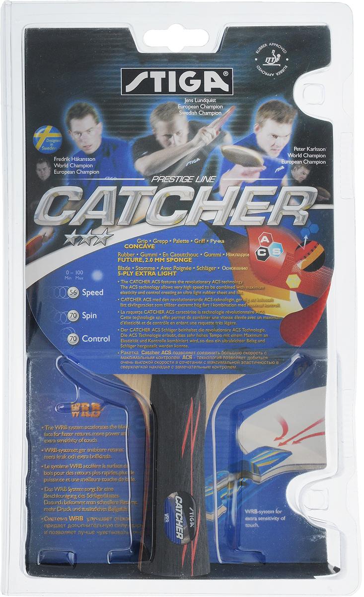 Ракетка для настольного тенниса Stiga Catcher ACS1536-01Ультра легкая ракетка Stiga Catcher ACS для игры в настольный теннис прекрасно подойдет, тем, кто профессионально занимается теннисом и начинающим игрокам. Собрана из 5-слойного основания с применением технологии WRB, накладки Future и губки с новейшей системой ASC толщиной 2,0 мм. Позволяет соединить большую скорость с максимальным контролем.Скорость: 56.Вращение: 70.Контроль: 70.