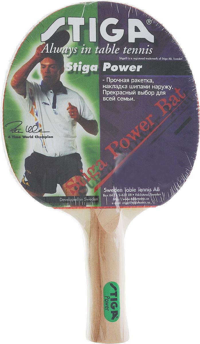 Ракетка для настольного тенниса Stiga Power1819-11Ракетка для начинающих игроков в настольный теннис Stiga Power. Пятислойное основание собрано из шпона американской липы и серебристого тополя. Накладка у ракетки выполнена шипами наружу, с губкой толщиной 1,5 мм. Прекрасный выбор для всей семьи.