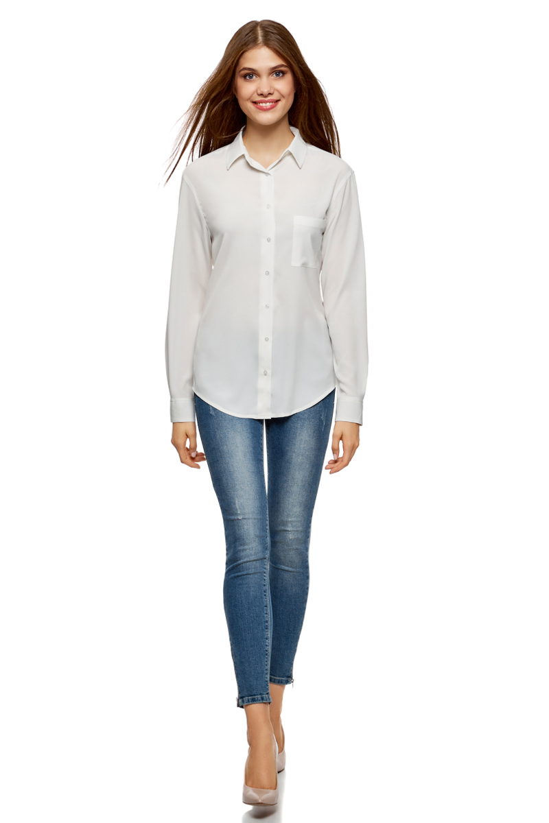 Блузка женская oodji Ultra, цвет: белый. 11411134B/46123/1200N. Размер 42 (48-170) блузка женская oodji ultra цвет белый 11411062 1 43291 1200n размер 36 170 42 170