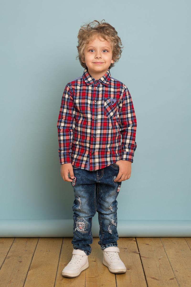 Рубашка для мальчика Sweet Berry, цвет: красный, белый, синий. 733020. Размер 116733020Стильная хлопковая рубашка от Sweet Berry выполнена из байковой ткани в клетку. Модель с накладным карманом и контрастной отделкой на спинке. Рубашка с длинными рукавами и отложным воротничком застегивается на кнопки.