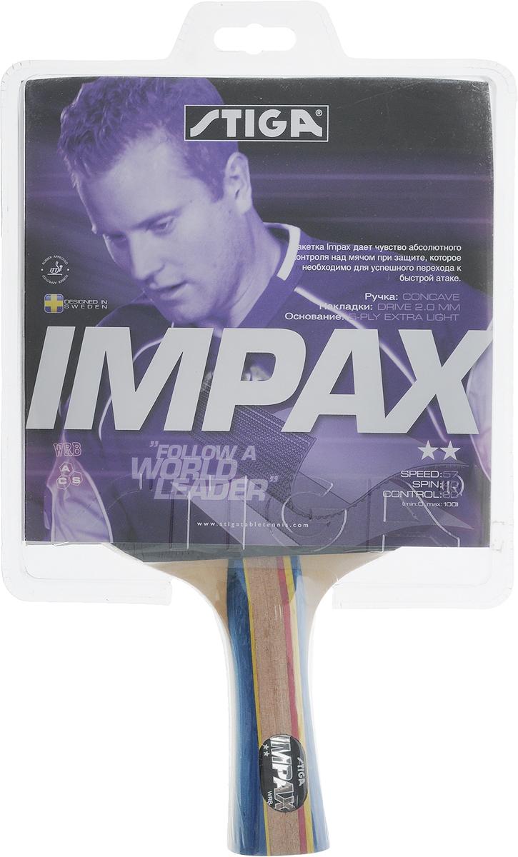 Ракетка для настольного тенниса Stiga Impax1677-01Универсальная ракетка Stiga Impax для игры в настольный теннис прекрасно подойдет любителям и начинающим игрокам. Изготовлена из прочных качественных материалов, удобно лежит в руке и гарантирует хорошее чувство мяча и наиболее комфортную игру.Количество слоев основания: 5.Толщина губки: 2 мм.Скорость: 57.Вращение: 40.Контроль: 80.