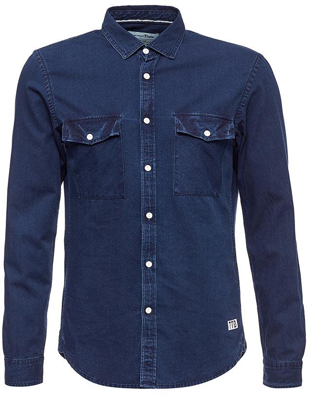 Рубашка мужская Tom Tailor, цвет: темно-синий. 2055041.00.12_1302. Размер XXL (54)2055041.00.12_1302Рубашка мужская Tom Tailor выполнена из хлопка. Модель с длинными рукавами и отложным воротником застегивается на пуговицы.