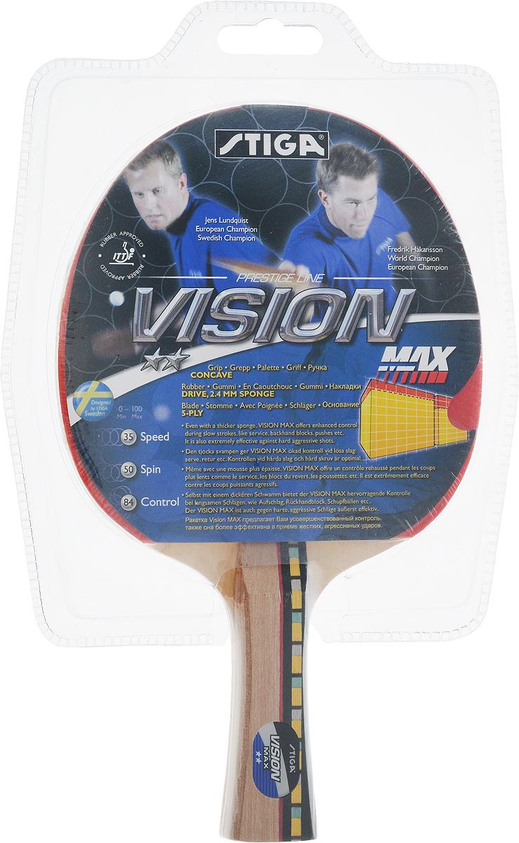 Ракетка для настольного тенниса Stiga Vision Max1634-01Универсальная ракетка Stiga Vision Max для игры в настольный теннис прекрасно подойдет любителям и начинающим игрокам. Изготовлена из прочных качественных материалов, удобно лежит в руке и гарантирует хорошее чувство мяча и наиболее комфортную игру.Количество слоев основания: 5.Толщина губки: 2,4 мм.Скорость: 35.Вращение: 50.Контроль: 84.