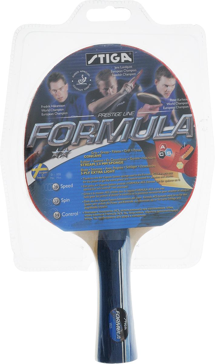 Ракетка для настольного тенниса Stiga Formula ACS1636-01Универсальная ракетка Stiga Formula ACS для игры в настольный теннис прекрасно подойдет, тем, кто профессионально занимается теннисом и начинающим игрокам. Собрана с использованием технологии WRB из прочных качественных материалов шпона и резины. Ракетка удобно лежит в руке и гарантирует хорошее чувство мяча и наиболее комфортную игру.Толщина губки: 2,0 мм.Скорость: 36.Вращение: 55.Контроль: 84.