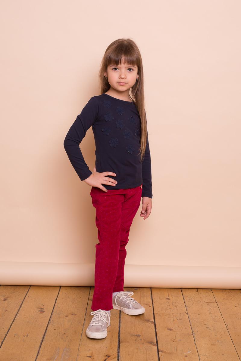 Футболка с длинным рукавом для девочки Sweet Berry, цвет: темно-синий. 734140. Размер 104