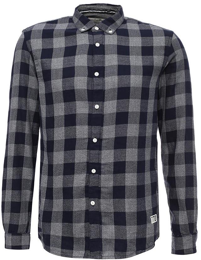 Рубашка мужская Tom Tailor, цвет: серый. 2055038.00.12_1000. Размер XL (52)2055038.00.12_1000Рубашка мужская Tom Tailor выполнена из хлопка. Модель с длинными рукавами и отложным воротником застегивается на пуговицы.