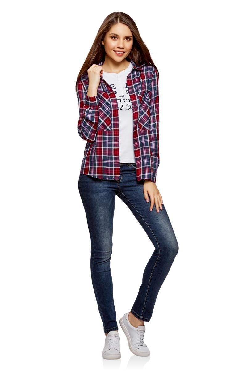Рубашка женская oodji Ultra, цвет: бордовый, темно-синий. 11411170/46973/4979C. Размер 36 (42-170)11411170/46973/4979CЖенская рубашка от oodji выполнена из натуральной вискозы. Модель с длинными рукавами и отложным воротником застегивается на пуговицы, на груди дополнена большими карманами.