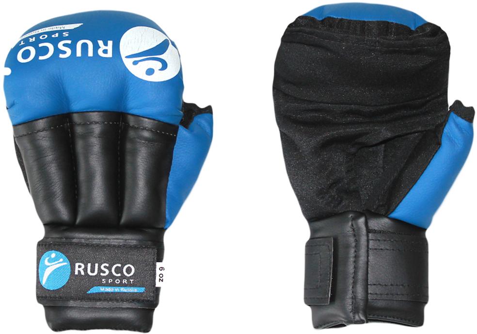 Перчатки для рукопашного боя Rusco, цвет: синий. УТ-00009845. Размер 6УТ-00009845Перчатки для рукопашного боя Rusco выполнены из искусственной кожи, ударно-захватные. Манжет на липучке позволяет легко и быстро снимать и надевать перчатки на тренировке.