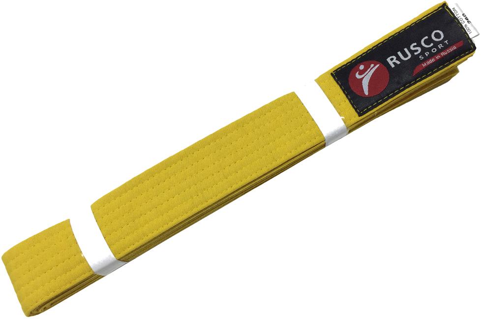 Пояс для единоборств Rusco, цвет: желтый. УТ-00010489. Длина 260 смУТ-00010489Пояс для единоборств оранжевый - это пояс, предназначенный для занятий различными боевыми искусствами.