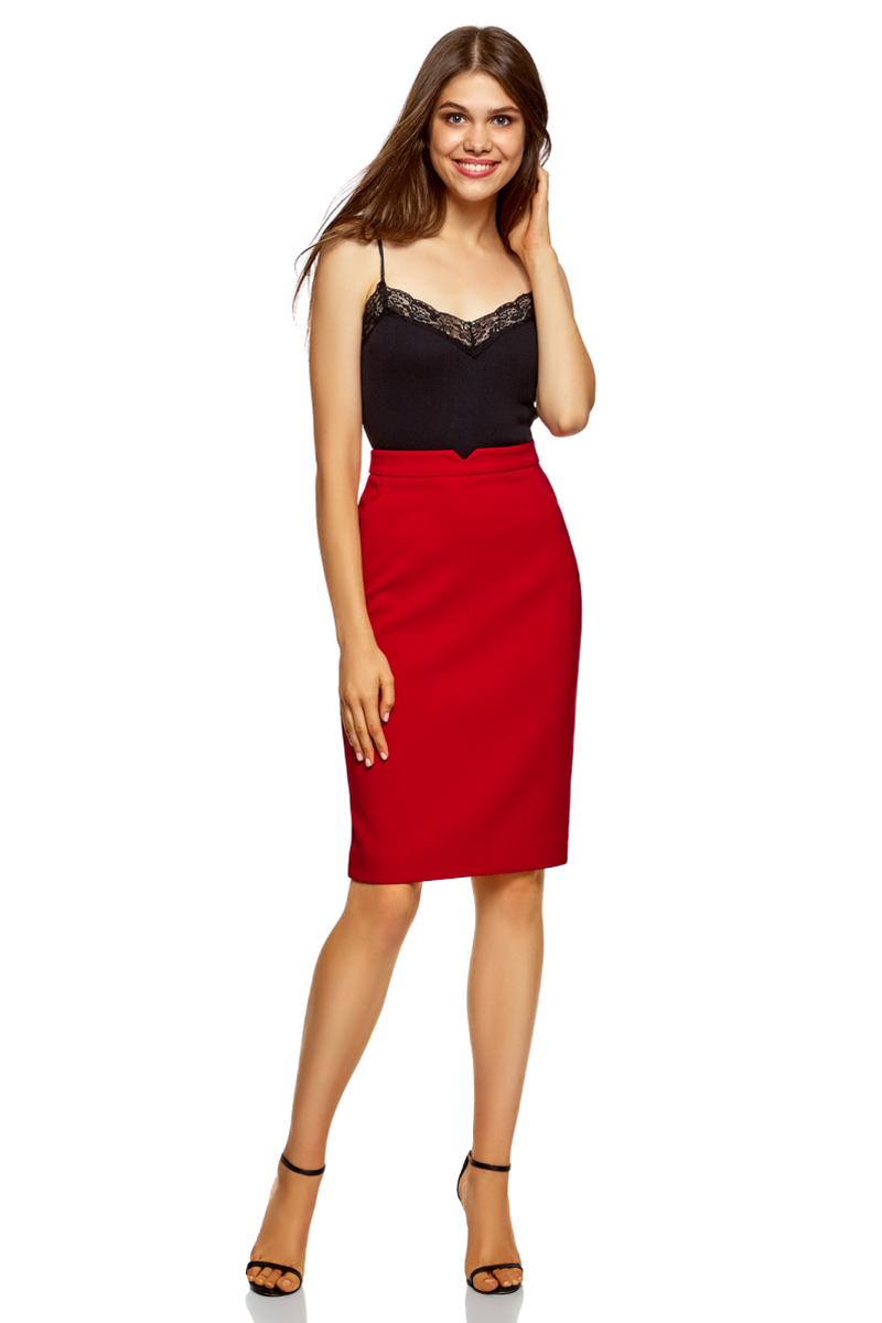 Юбка женская oodji Ultra, цвет: красный. 11600387-8/46957/4500N. Размер 38 (44-170)11600387-8/46957/4500N