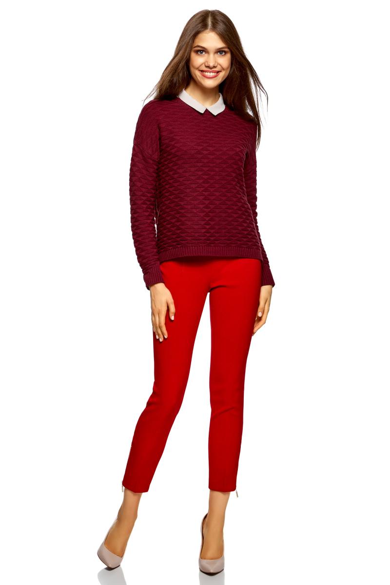 Брюки женские oodji Ultra, цвет: красный. 11700217-1/46957/4500N. Размер 38 (44-170)11700217-1/46957/4500NУкороченные женские брюки выполнены из стрейча. Модель зауженного кроя сбоку застегивается на потайную застежку молнию. Низ брючин дополнен молниями.