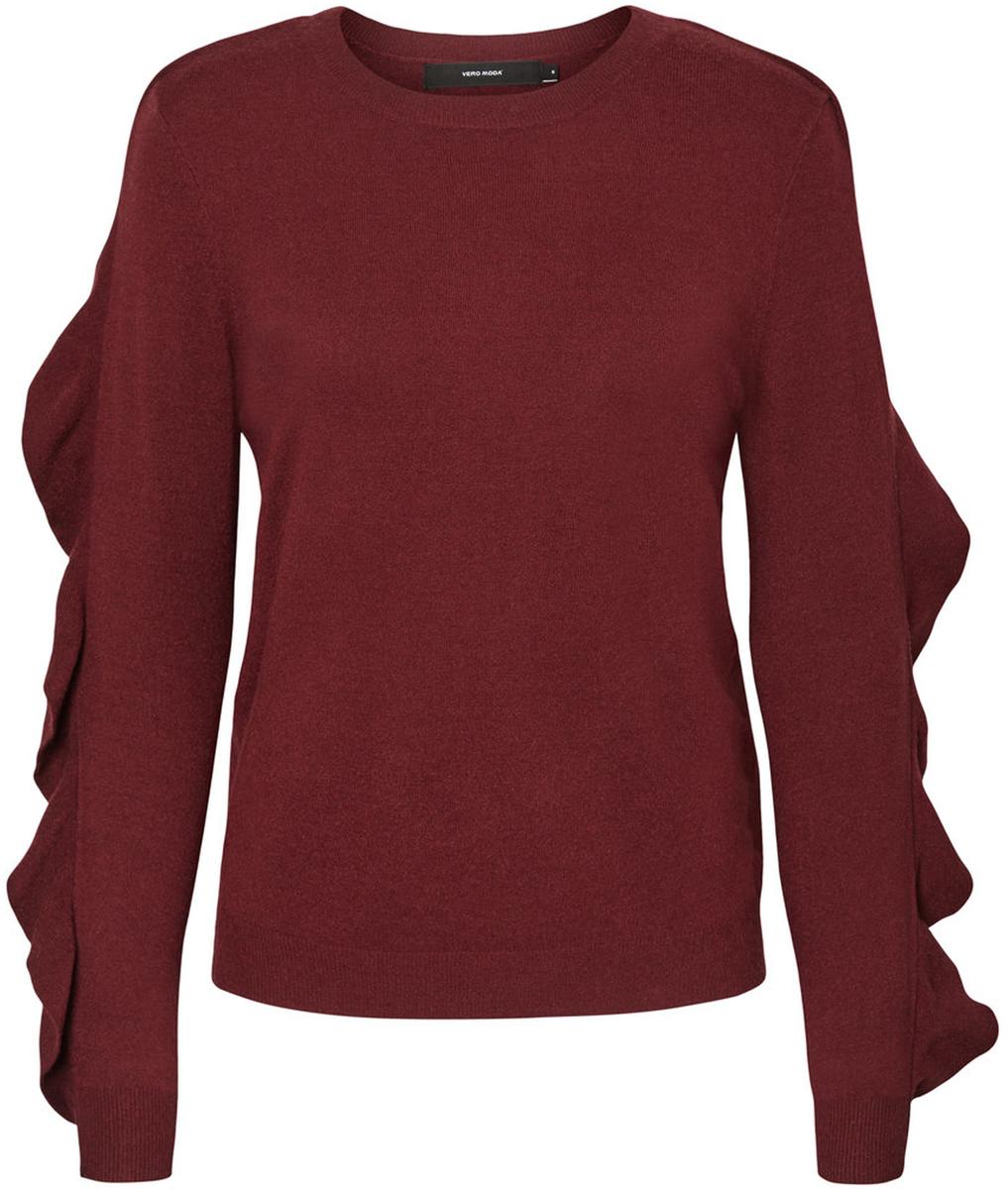 Джемпер женский Vero Moda, цвет: бордовый. 10185482_Zinfandel. Размер S (42/44) кардиган женский vero moda цвет черный светло серый 10166453 размер s 42