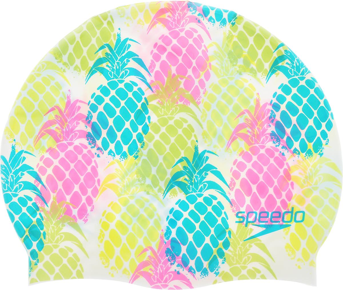 Шапочка для плавания Speedo Slogan Print Cap, цвет: белый, мультиколор8-08385A700_сиреневый, розовый, белыйЯркая шапочка Speedo Slogan Print Cap обеспечивает плотное прилегание и полную защиту от попадания воды. Отлично подойдет для тренировок в бассейне. Шапочка выполнена из высококачественного силикона.
