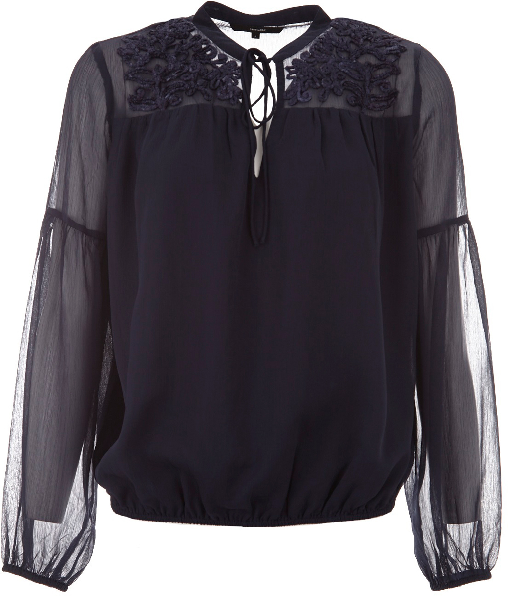Блузка женская Vero Moda, цвет: темно-синий. 10185517_Navy Blazer. Размер L (48)10185517_Navy BlazerБлузка женская Vero Moda выполнена из качественного материала. Модель с длинными рукавами и круглым вырезом горловины.