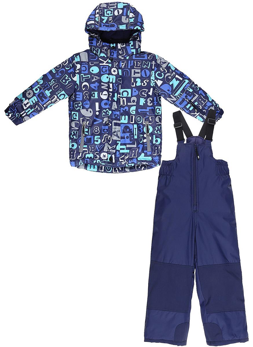 Комплект верхней одежды для мальчика Sweet Berry: куртка, полукомбинезон, цвет: синий. 733302. Размер 98733302Комфортный и теплый комплект верхней одежды от Sweet Berry для мальчика, состоящий из куртки и полукомбинезона, выполнен из мембранной ткани. В конструкции учтены физиологические особенности малыша.Съемный капюшон на молниях с дополнительной утяжкой, спереди установлены две кнопки. Рукава с манжетами, регулируются липучкой. На куртке два кармана, застегивающиеся на молнию. Застежка-молния с внешней ветрозащитной планкой.Полукомбинезон на регулируемых подтяжках гарантирует посадку по фигуре. Колени, задняя поверхность бедер и низ брючин дополнительно усилены сверхпрочным материалом. Силиконовые отстегивающиеся штрипки на брючинах.