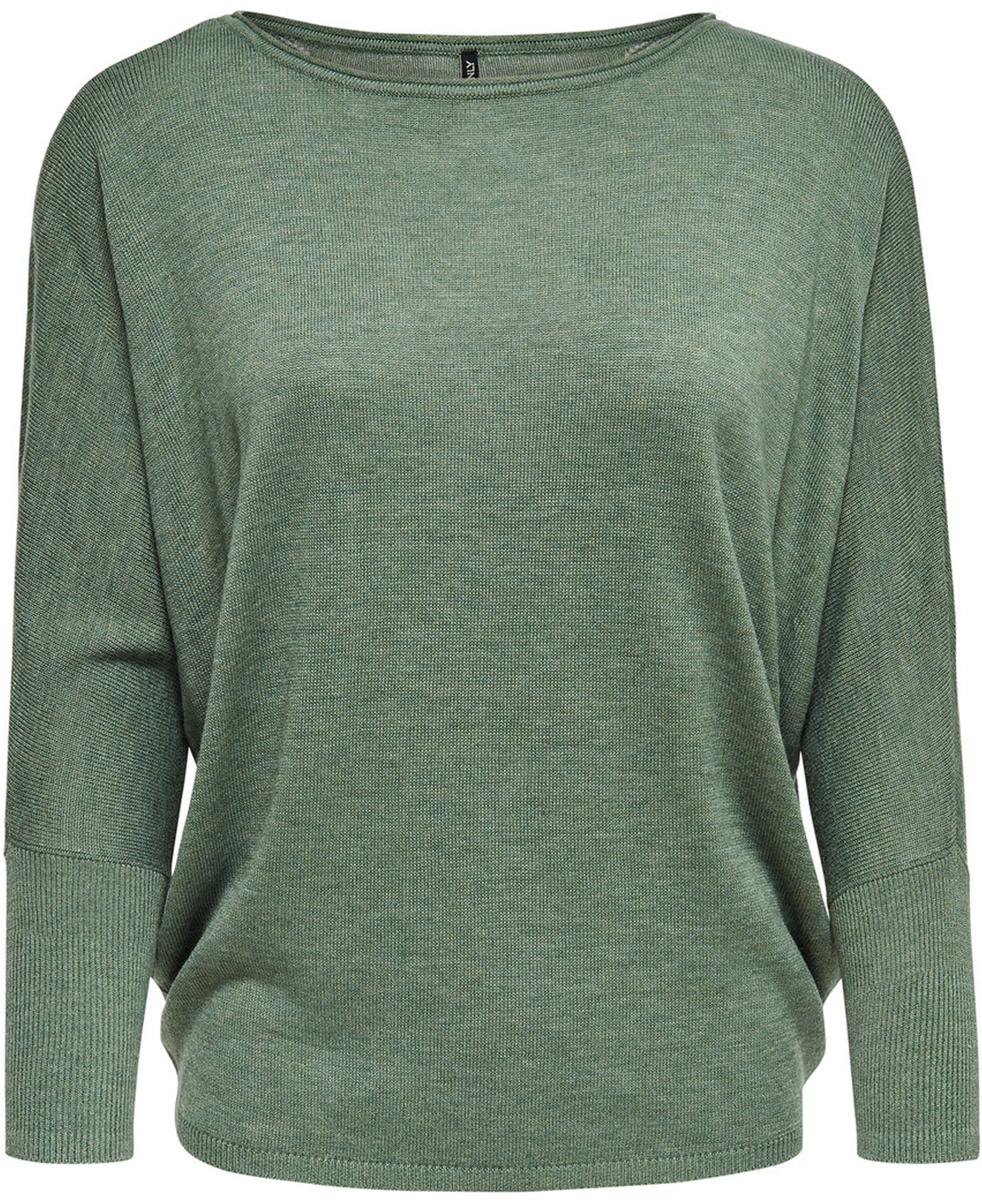 Пуловер женский Only, цвет: зеленый. 15140104_Agave Green. Размер S (42/44)15140104_Agave GreenОригинальный женский пуловер Only разнообразит ваш повседневный гардероб. Модель свободного кроя с вырезом-лодочкой и длинными цельнокроеными рукавами летучая мышь выполнена из высококачественного трикотажа мелкой вязки с фигурной вязкой на спинке. Манжеты рукавов и низ изделия связаны резинкой. Модель подойдет для прогулок и дружеских встреч и будет отлично сочетаться с джинсами и брюками, а также гармонично смотреться с юбками. Мягкая ткань на основе вискозы и нейлона приятна на ощупь и комфортна в носке.
