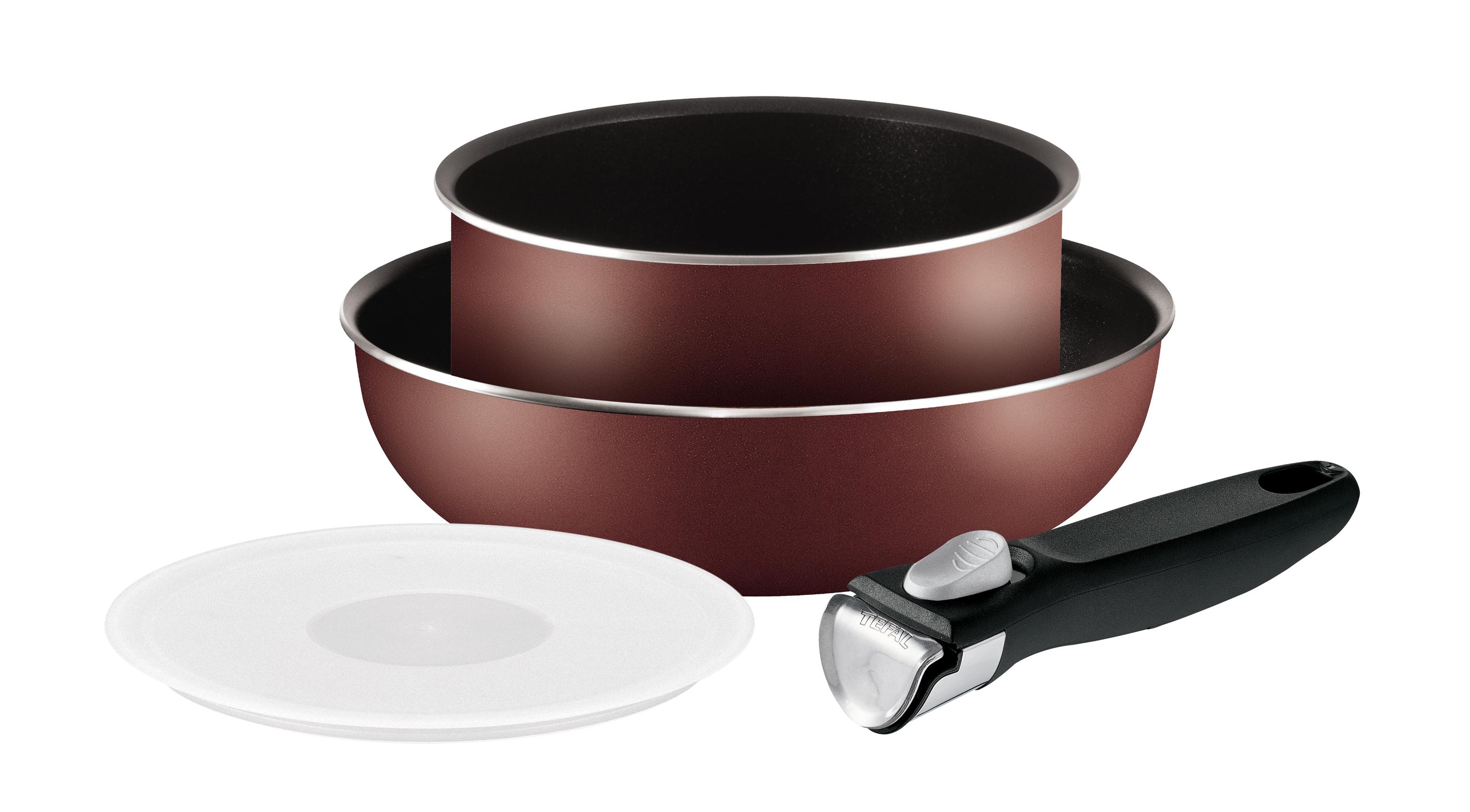 """Набор посуды Tefal """"Ingenio"""", с антипригарным покрытием, цвет: бордовый, 3 предмета. 4162830"""
