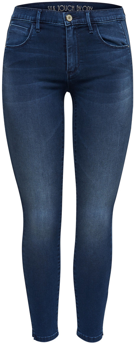 Джинсы женские Only, цвет: темно-синий. 15140085_Dark Blue Denim. Размер 30-34 (46-34)15140085_Dark Blue DenimСтильные женские джинсы Only разнообразят ваш повседневный гардероб. Укороченная модель прилегающего кроя со стандартной линией талии застегивается на молнию и пуговицу. На поясе имеются шлевки для ремня. Модель представляет собой классическую пятикарманку: два втачных и накладной карманы спереди и два накладных кармана сзади. Мягкая эластичная ткань приятна на ощупь и комфортна в носке. Модель подойдет для прогулок и дружеских встреч и дополнит гардероб в любом стиле.