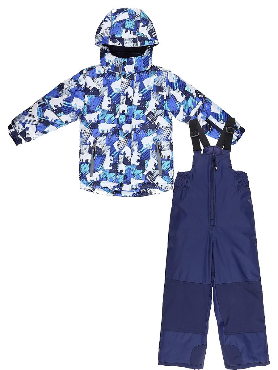 Комплект верхней одежды для мальчика Sweet Berry: куртка, полукомбинезон, цвет: синий, белый. 731301. Размер 98731301Комфортный и теплый комплект верхней одежды от Sweet Berry для мальчика, состоящий из куртки и полукомбинезона, выполнен из мембранной ткани. В конструкции учтены физиологические особенности малыша.Съемный капюшон на молниях с дополнительной утяжкой, спереди установлены две кнопки. Рукава с манжетами, регулируются липучкой. На куртке два кармана, застегивающиеся на молнию. Застежка-молния с внешней ветрозащитной планкой.Полукомбинезон на регулируемых подтяжках гарантирует посадку по фигуре. Колени, задняя поверхность бедер и низ брючин дополнительно усилены сверхпрочным материалом. Силиконовые отстегивающиеся штрипки на брючинах.