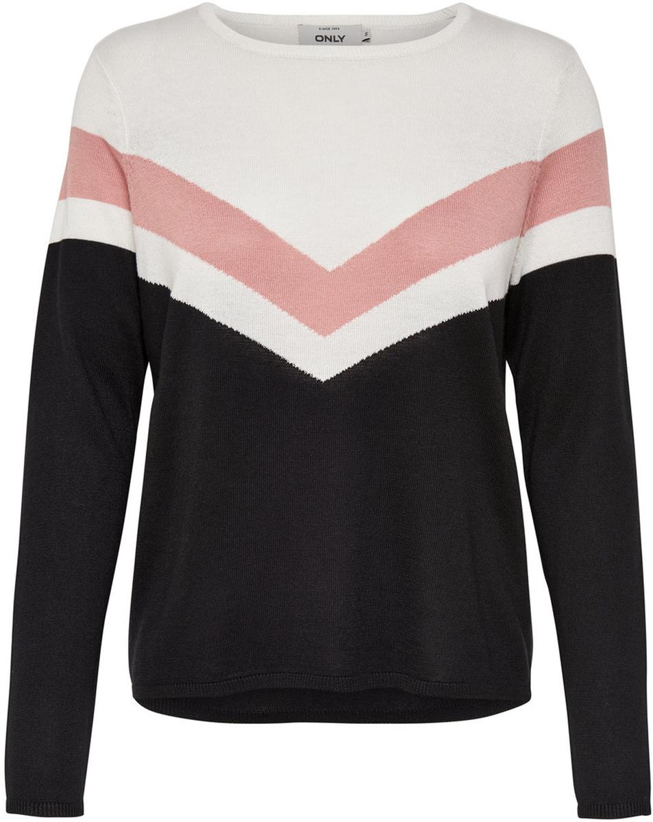 Пуловер жен Only, цвет: темно-синий, красный, белый. 15139876_Cloud Dancer. Размер XS (40/42)15139876_Cloud Dancer