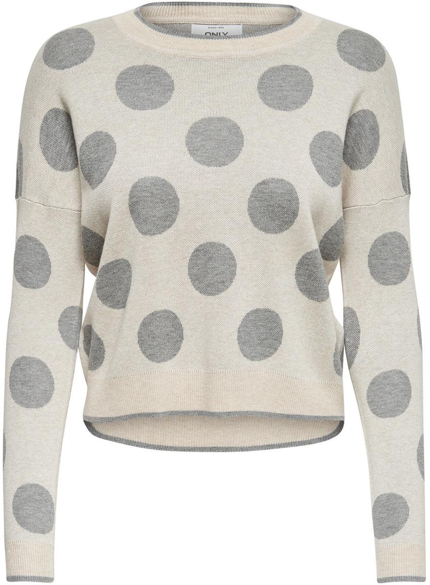 Пуловер женский Only, цвет: светло-серый. 15139779_Whitecap Gray. Размер XS (40/42)15139779_Whitecap GrayСтильный женский пуловер Only разнообразит ваш повседневный гардероб. Укороченная модель прямого кроя с длинными рукавами со спущенным плечом выполнена из высококачественного трикотажа мелкой вязки в крупный горох. Круглый вырез горловины, манжеты рукавов и низ изделия связаны резинкой. Модель подойдет для прогулок и дружеских встреч и будет отлично сочетаться с джинсами и брюками, а также гармонично смотреться с юбками. Мягкая ткань на основе вискозы и хлопка приятна на ощупь и комфортна в носке.