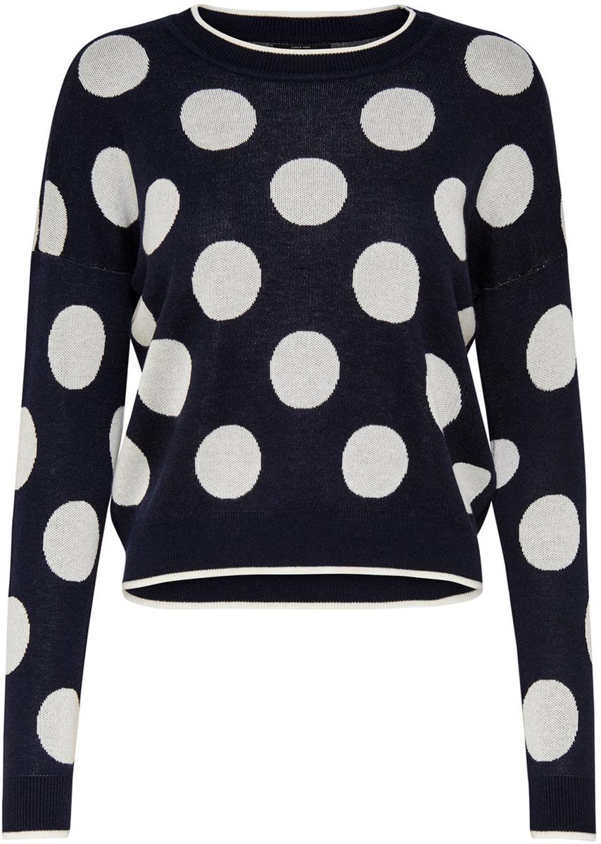 Пуловер жен Only, цвет: темно-синий, белый. 15139779_Sky Captain. Размер M (46)15139779_Sky Captain