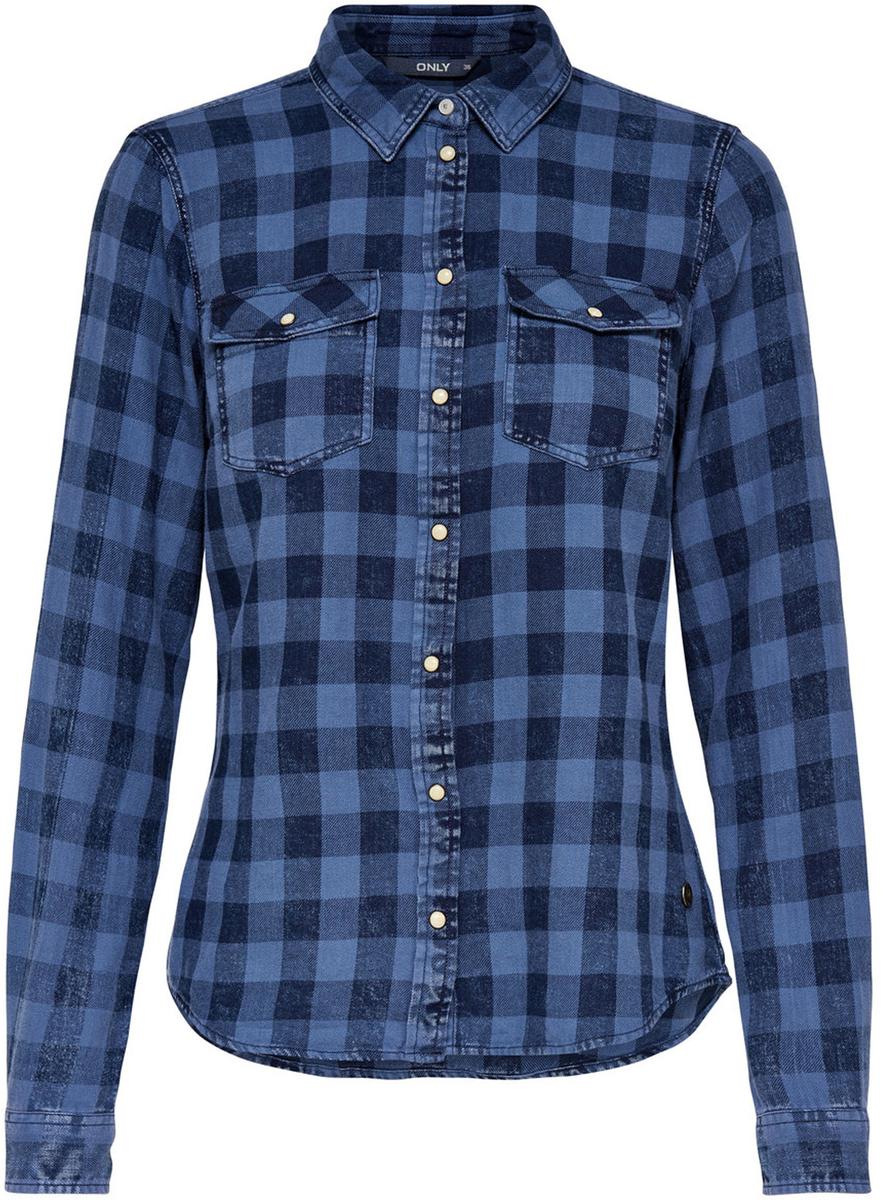 Рубашка женская Only, цвет: синий. 15138184_Medium Blue Denim. Размер 38 (44)15138184_Medium Blue DenimСтильная женская рубашка Only разнообразит ваш повседневный гардероб. Модель приталенного кроя с удлиненной спинкой и отложным воротничком выполнена из натурального хлопка и застегивается на кнопки. Манжеты длинных рукавов также дополнены кнопкой. На полочке расположены два накладных кармана с клапанами на кнопках. Модель подойдет для офиса, прогулок и дружеских встреч и будет отлично сочетаться с джинсами и брюками, а также гармонично смотреться с юбками.