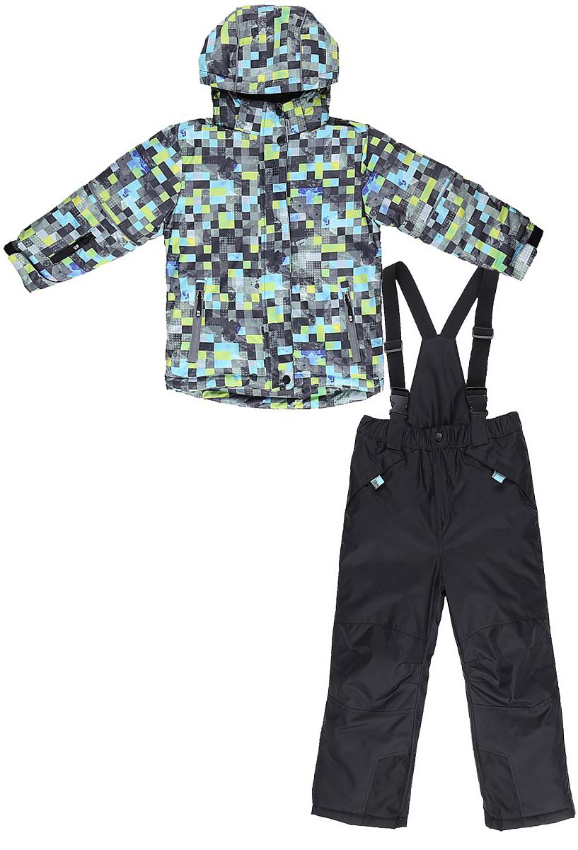 Комплект верхней одежды для мальчика Sweet Berry: куртка, брюки, цвет: зеленый, черный. 733301. Размер 116733301Комфортный и теплый комплект верхней одежды от Sweet Berry для мальчика, состоящий из куртки и брюк, выполнен из мембранной ткани. В конструкции учтены физиологические особенности малыша.Съемный капюшон на молниях с дополнительной утяжкой, спереди установлены две кнопки. Рукава с манжетами, регулируются липучкой. На куртке два кармана, застегивающиеся на молнию. Застежка-молния с внешней ветрозащитной планкой.Брюки на регулируемых подтяжках гарантируют посадку по фигуре. Колени, задняя поверхность бедер и низ брюк дополнительно усилены сверхпрочным материалом. Силиконовые отстегивающиеся штрипки на брючинах.